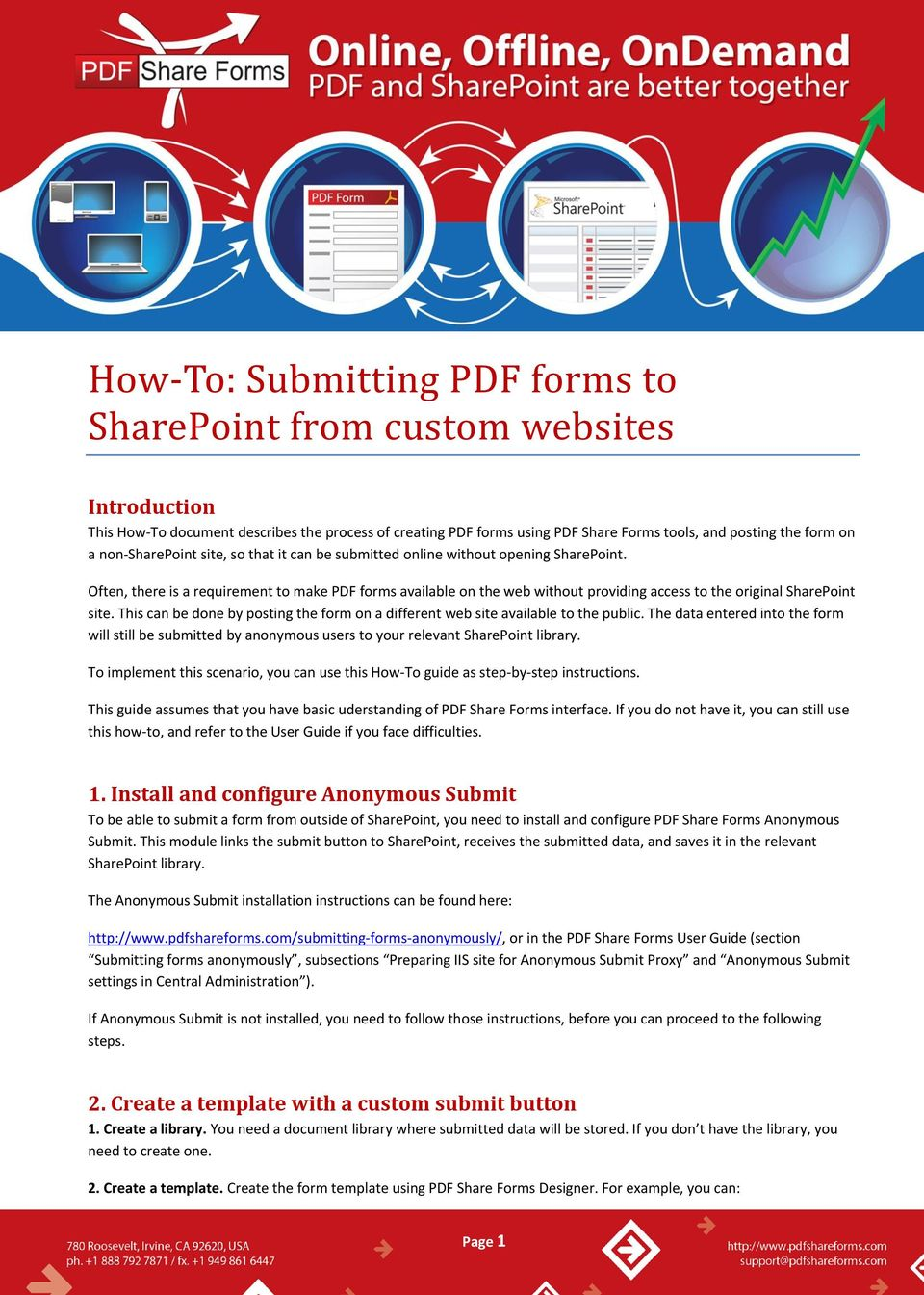 How To Submitting Pdf Forms To Sharepoint From Custom Websites Pdf