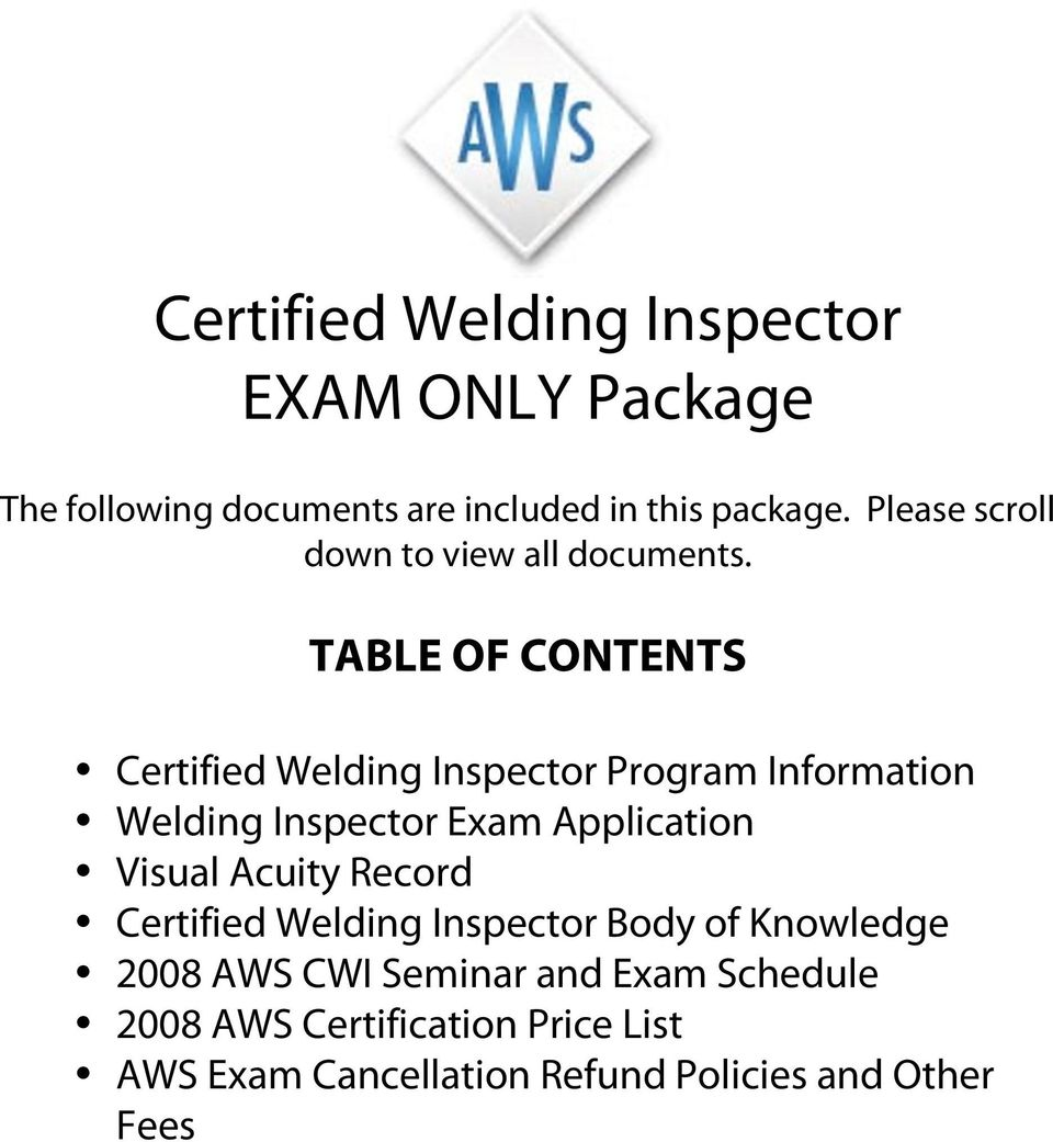 Certified Welding Inspector Exam Only Package Pdf
