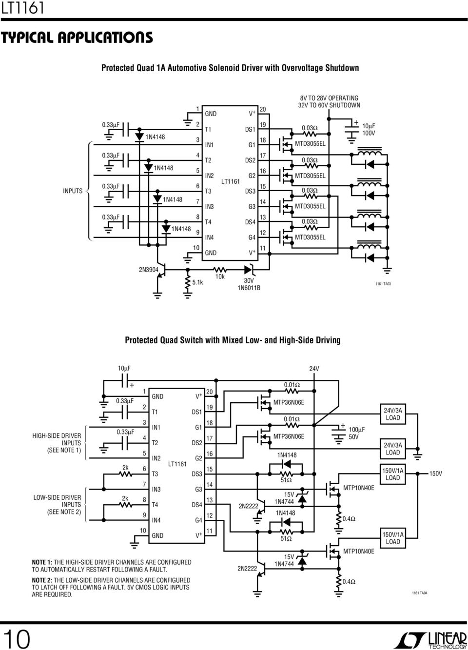 Description Features Applications Typical Application Lt1161 Quad Figure 4 This Solenoid Drive Circuit Employs A Highside K 3v Nb Ta3 Protected Switch With Mixed Low And High Side Driving