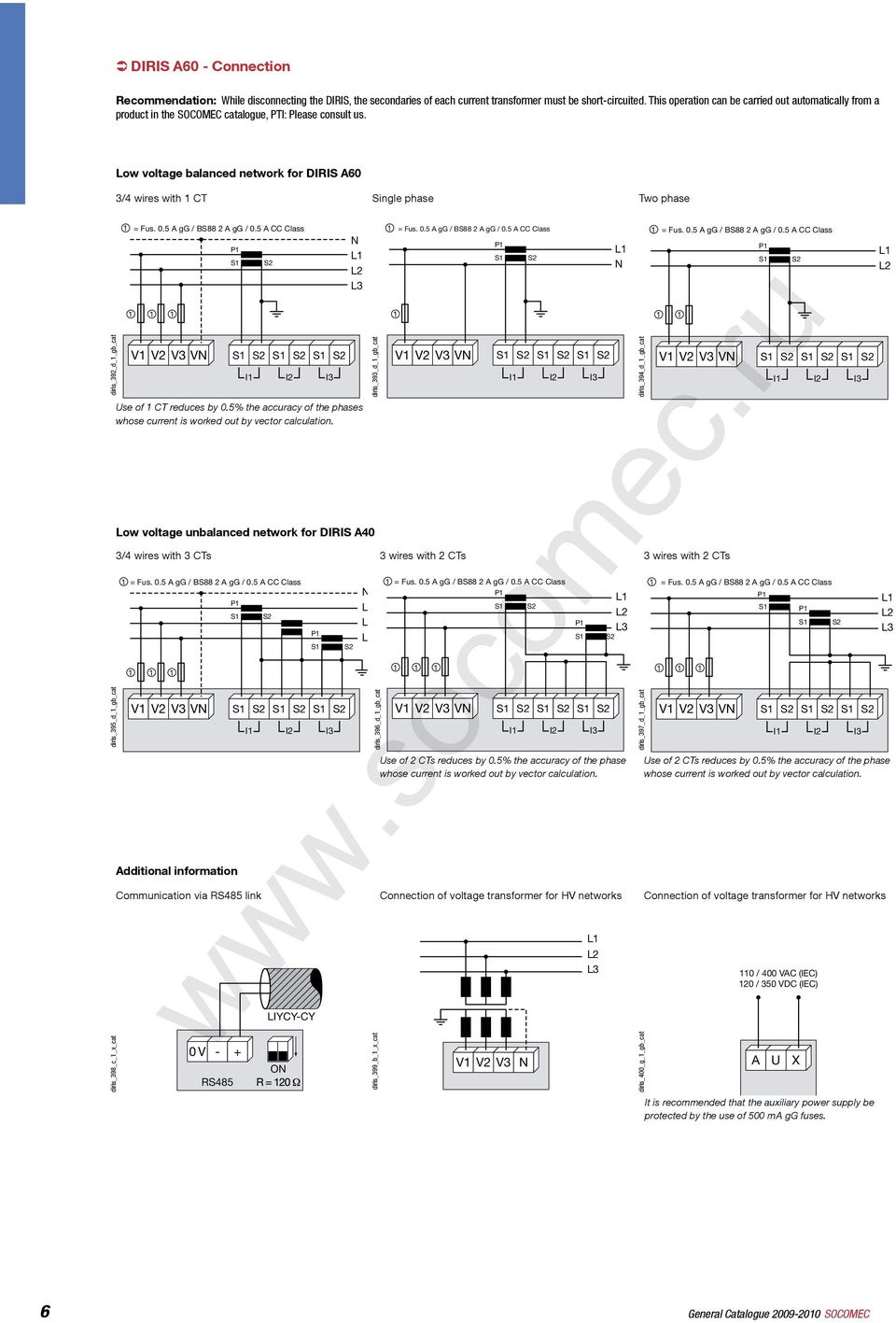 Applications Diris 826 A 1 Gb Cat Pdf Schematics Depot Tm Ultrasonic Switch Circuit Low Voltage Balanced Network For 3 4 Wires With Ct Single Phase Two