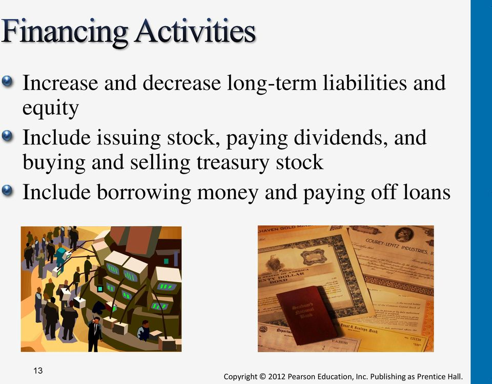 dividends, and buying and selling treasury