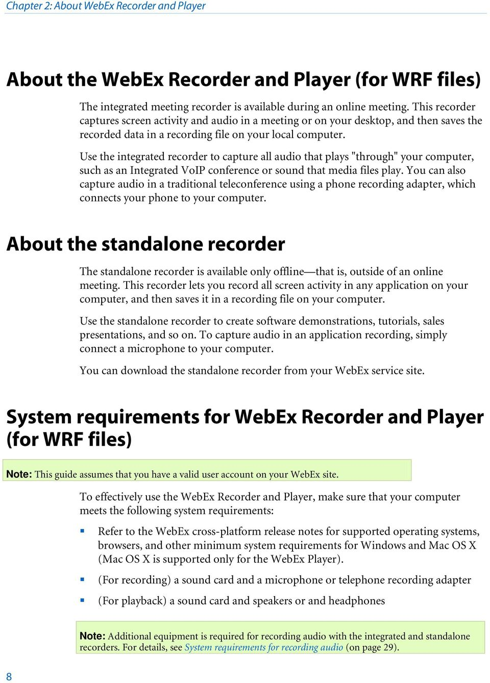 WebEx Recorder and Player - PDF