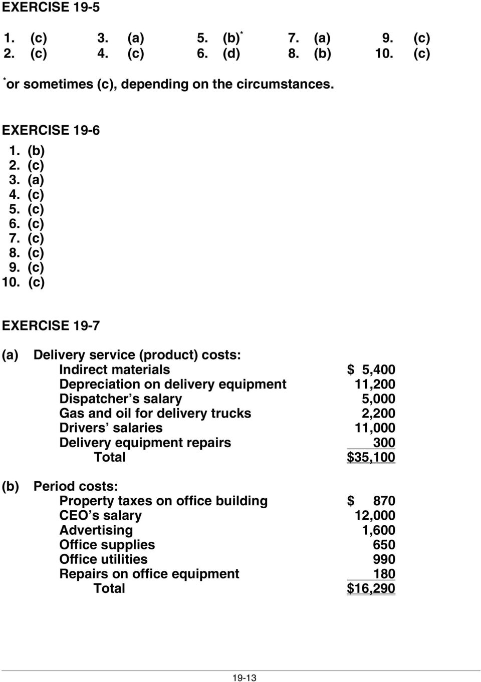 CHAPTER 19  Managerial Accounting  Brief 1, 2, , 5, 6, 7 2