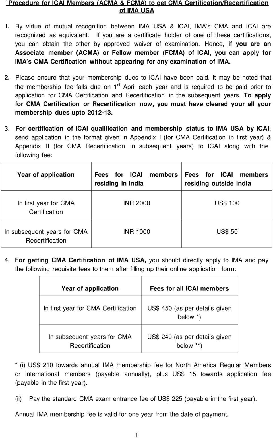 Procedure For Icai Members Acma Fcma To Get Cma Certification