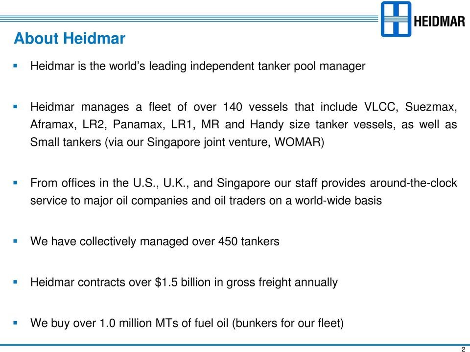 Heidmar Tanker Pools Trading insights from the front line