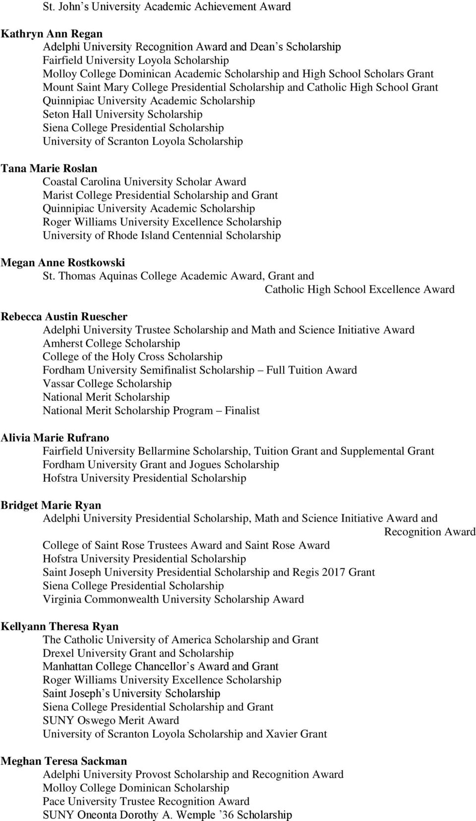 Class of 2013 Scholarships and Awards - PDF