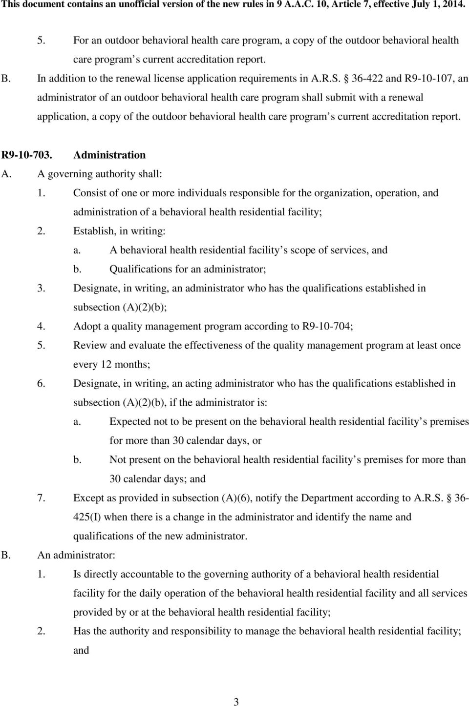 36-422 and R9-10-107, an administrator of an outdoor behavioral health care program shall submit with a renewal application, a copy of the outdoor behavioral health care program s current