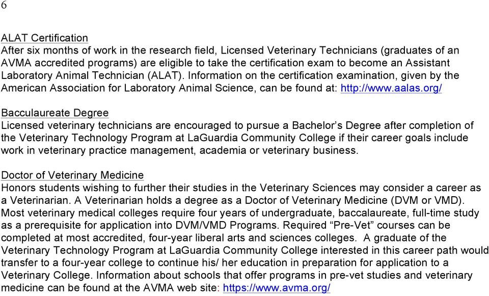 Veterinary Technology Program Handbook LaGuardia Community