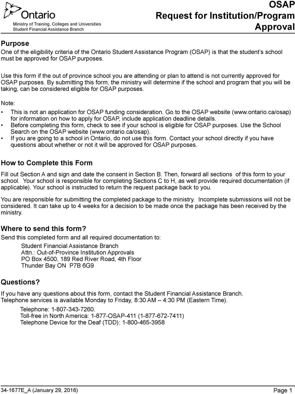 Osap Request For Institutionprogram Approval Pdf