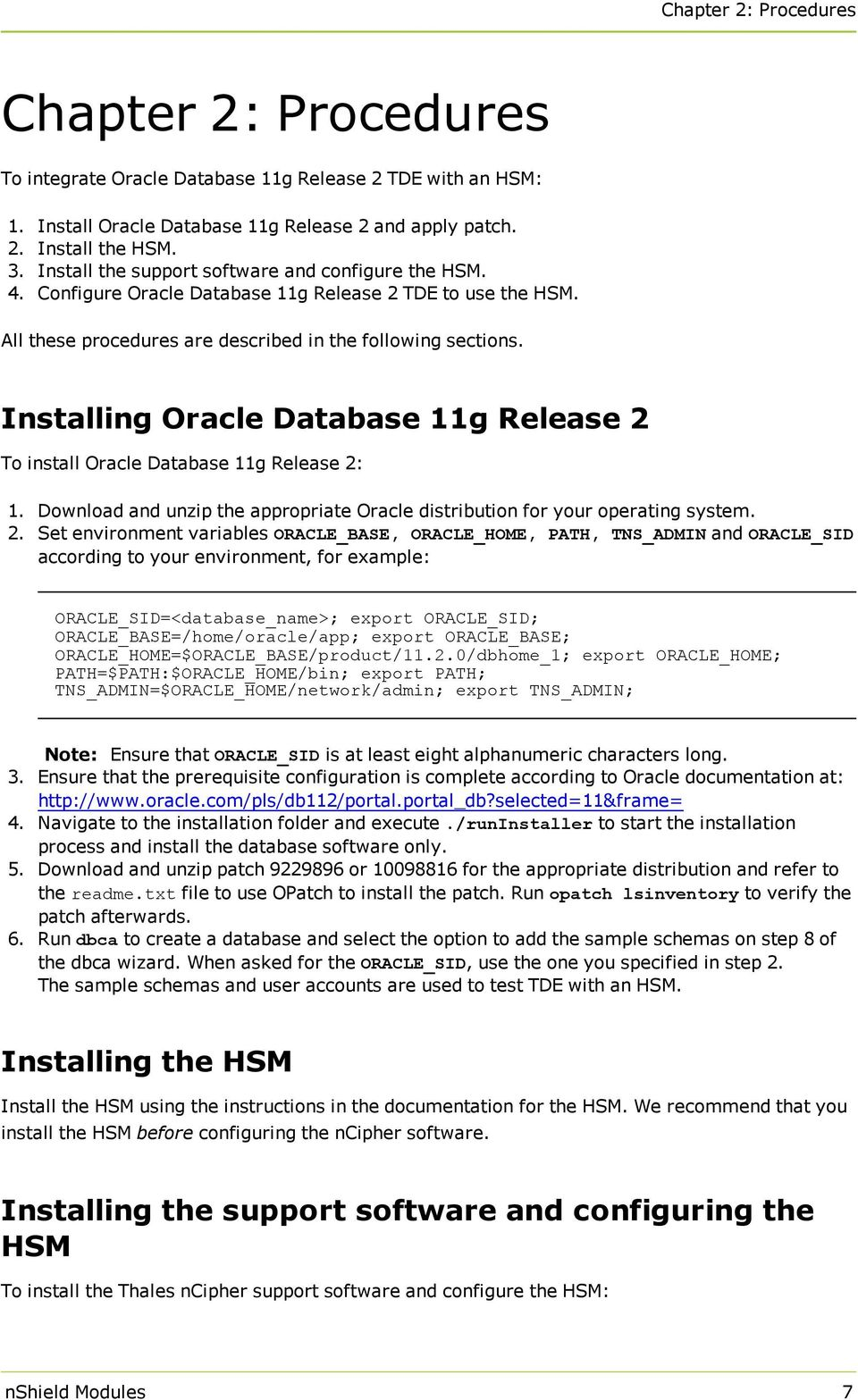 nshield Modules Integration Guide for Oracle Database 11g Release 2