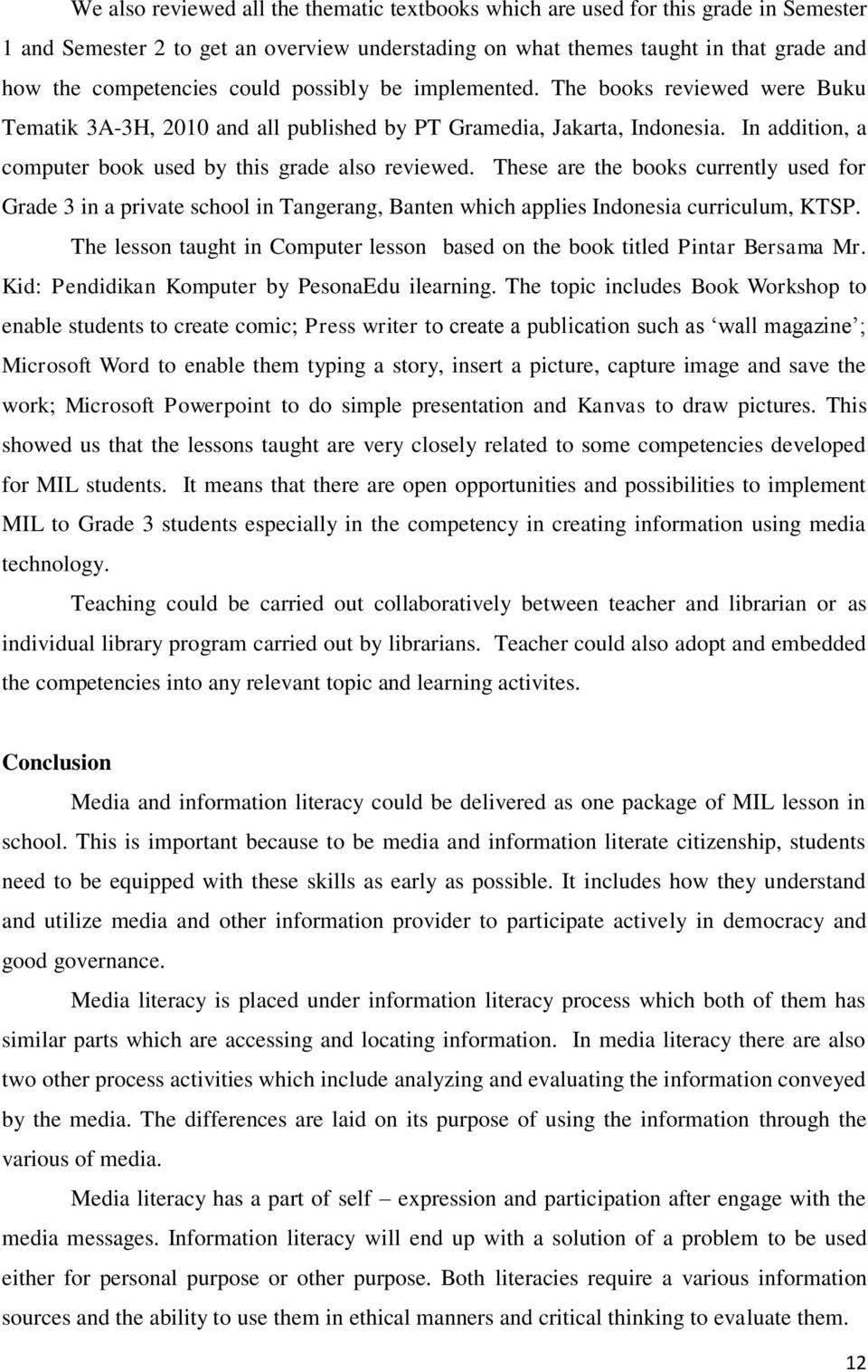 Developing A Media And Information Literacy Program A Mil Program