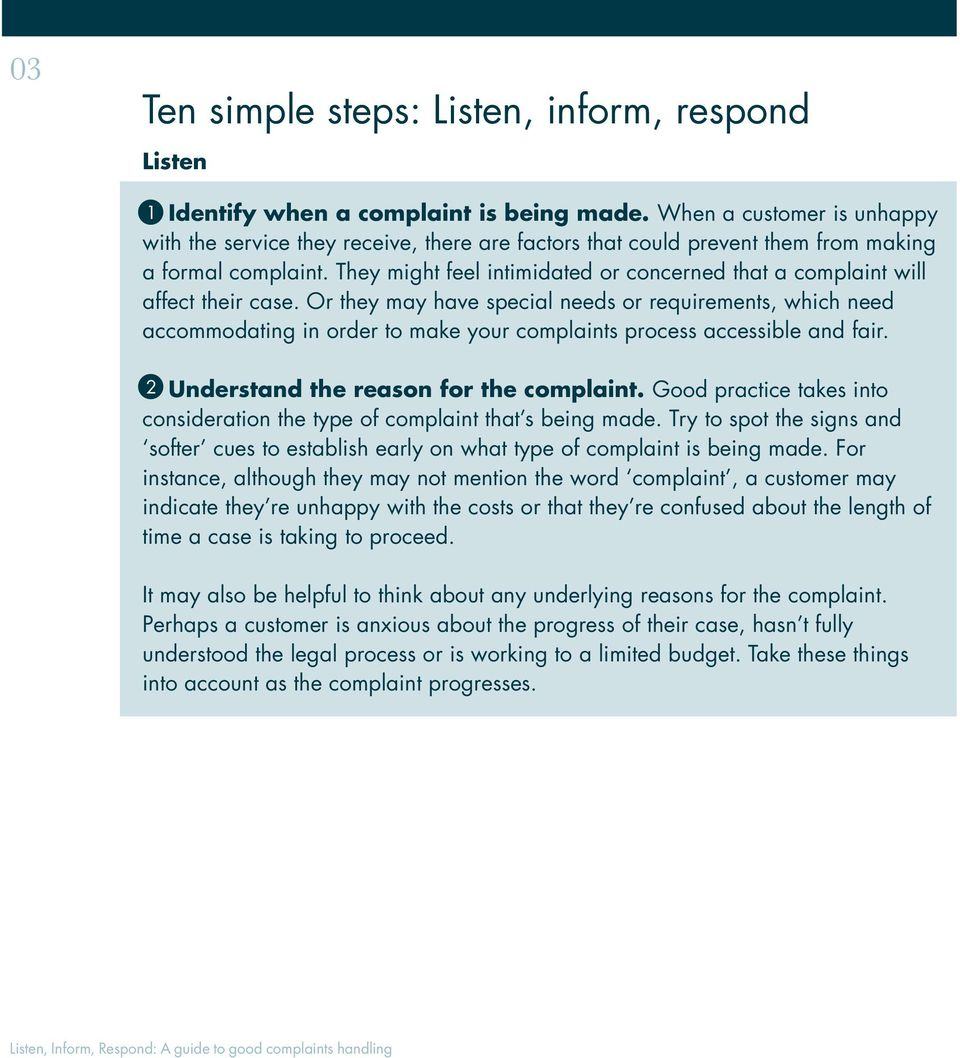 Listen, Inform, Respond: A guide to good complaints handling