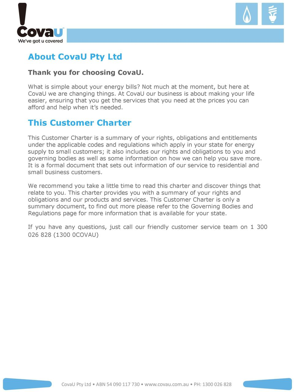 about covau pty ltd. this customer charter. thank you for choosing