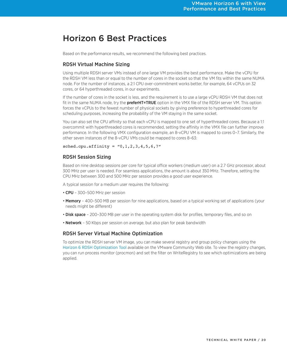 VMware Horizon 6 with View Performance and Best Practices