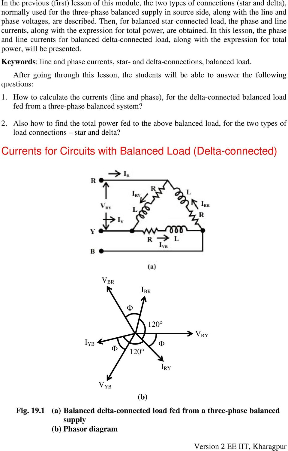 Module 5 Three Phase Ac Circuits Version 2 Ee Iit Kharagpur Pdf Power In N This Lesson The Hase And Line Currents For Balanced Delta Connected Load