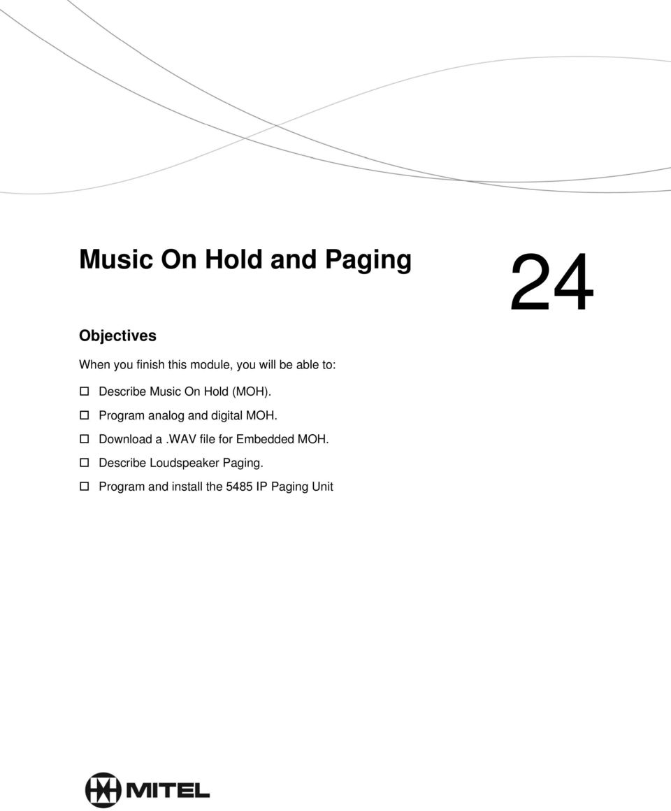 Music On Hold and Paging - PDF