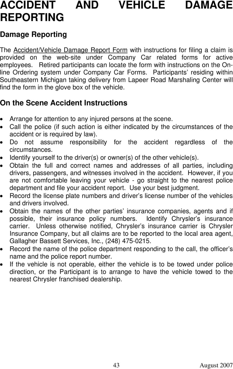 ACCIDENT AND VEHICLE DAMAGE REPORTING - PDF