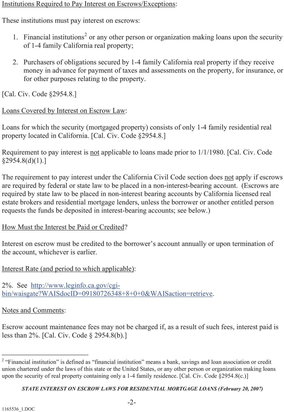 state interest on escrow laws for residential mortgage loans 1