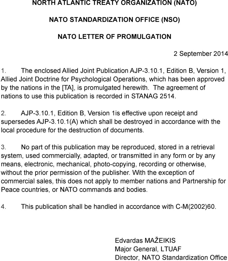 Nato Standard Ajp Allied Joint Doctrine For Psychological Operations