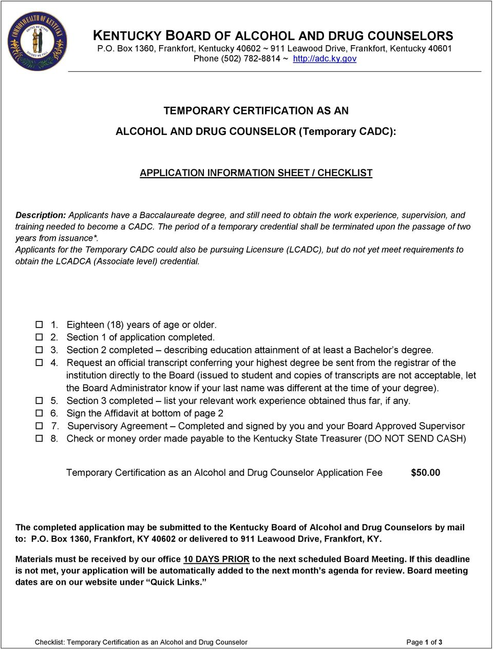 Temporary Certification As An Alcohol And Drug Counselor Temporary