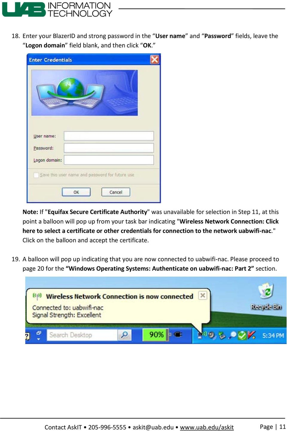 Network Connection: Click here to select a certificate or other credentials for connection to the network uabwifi-nac.