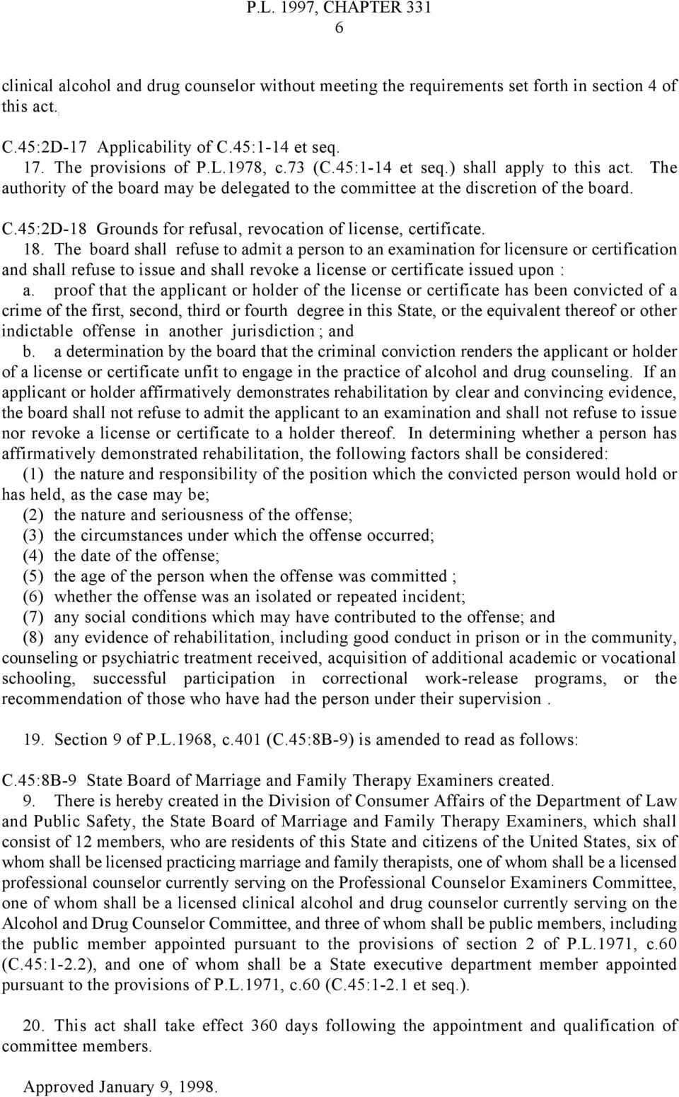 45:2D-18 Grounds for refusal, revocation of license, certificate. 18.