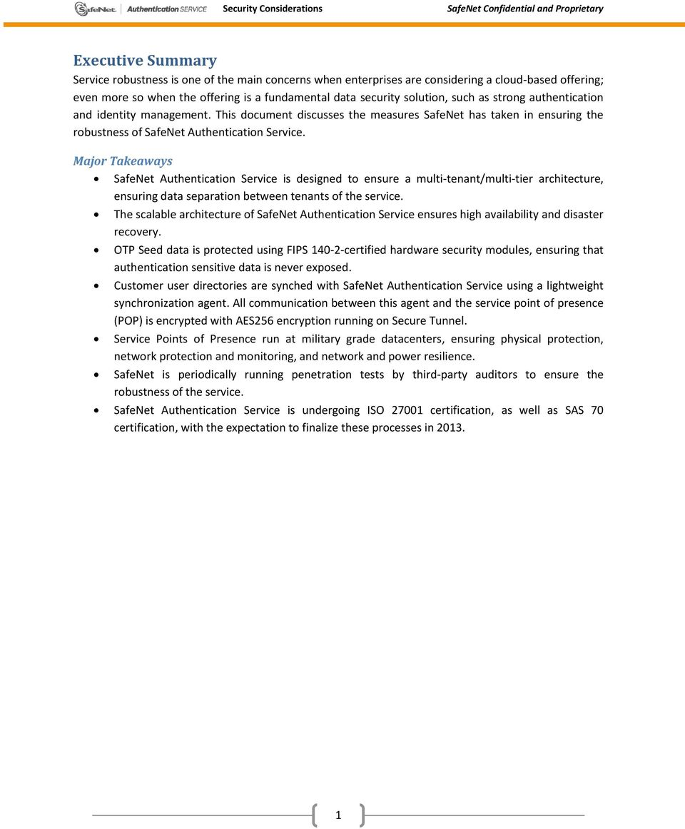 Safenet Authentication Service Security Considerations Pdf Data Major Takeaways Is Designed To Ensure A Multi Tenant