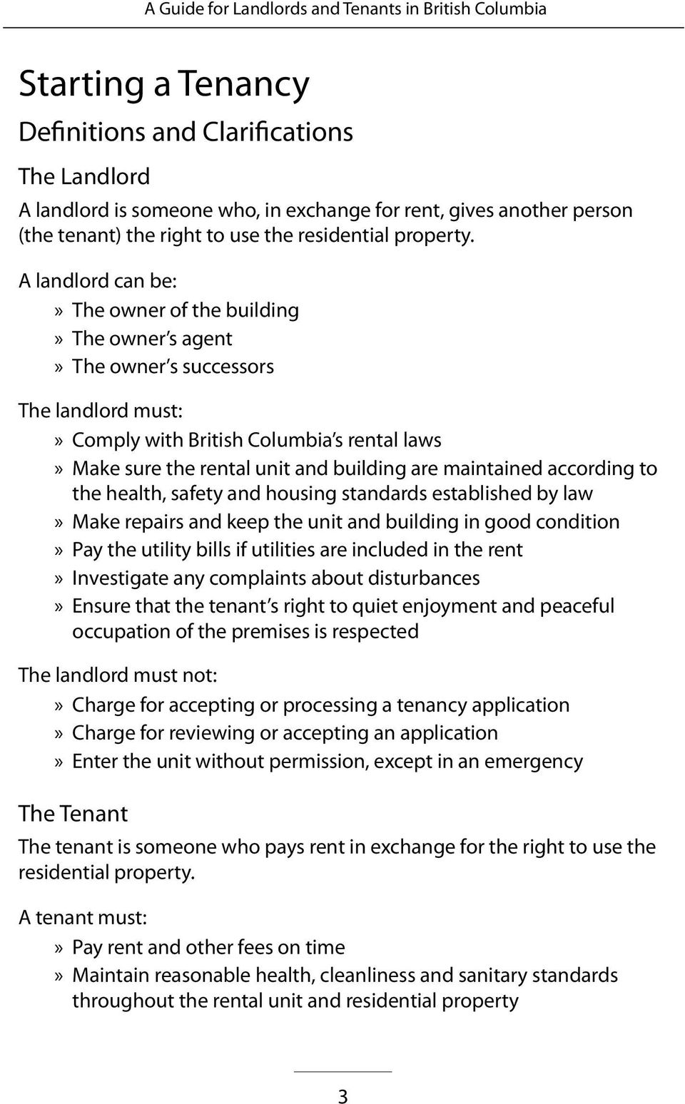 A Guide for Landlords & Tenants in British Columbia