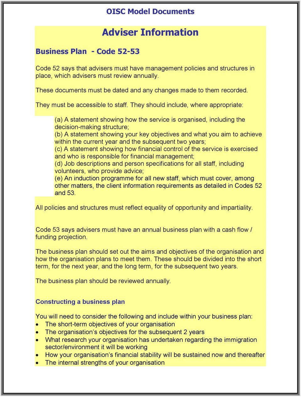 oisc business plan template