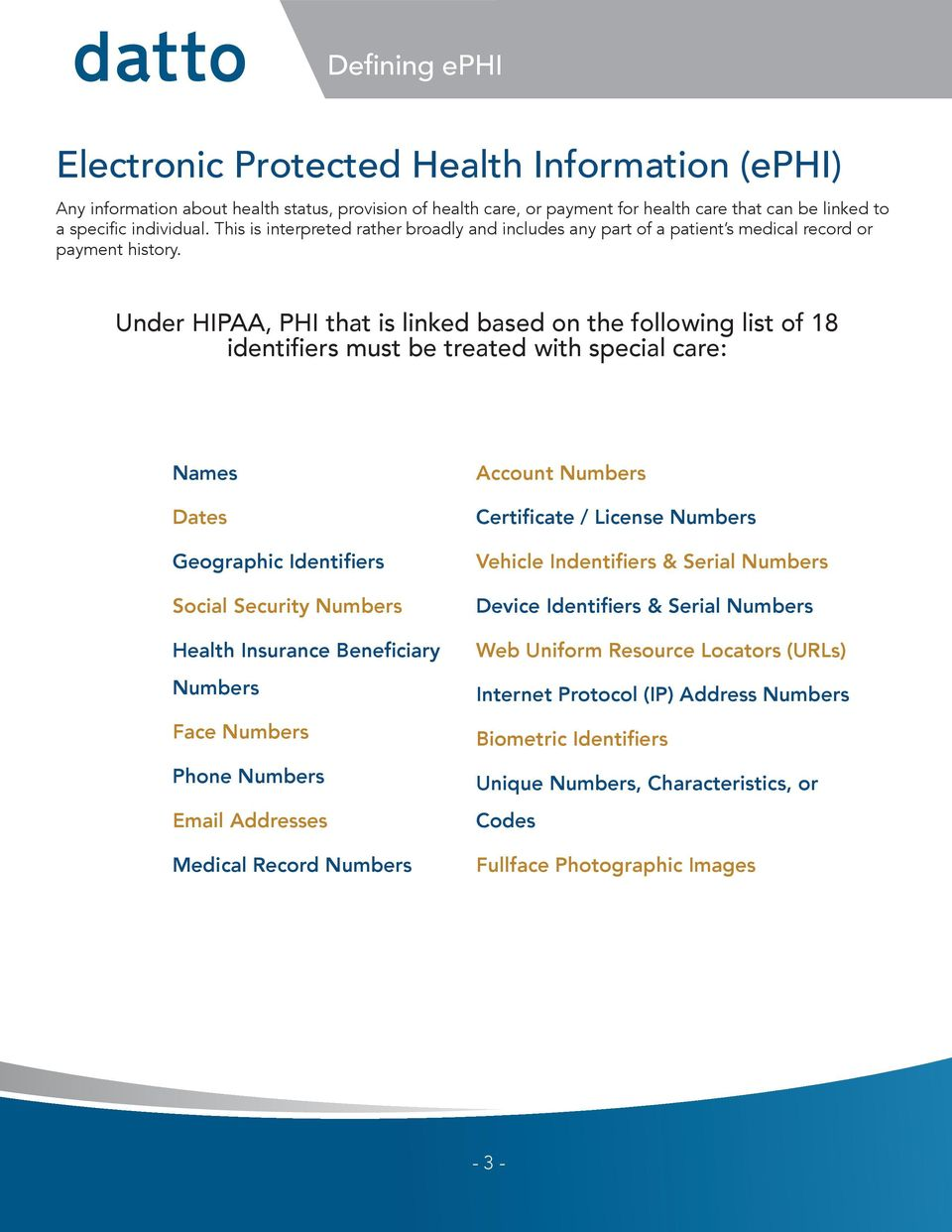 Under HIPAA, PHI that is linked based on the following list of 18 identifiers must be treated with special care: Names Dates Geographic Identifiers Social Security Numbers Health Insurance