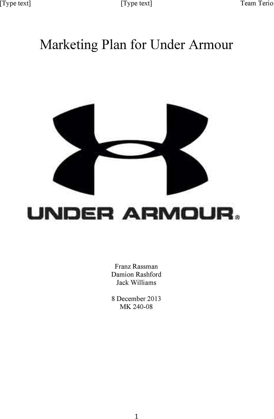 Marketing Plan for Under Armour - PDF