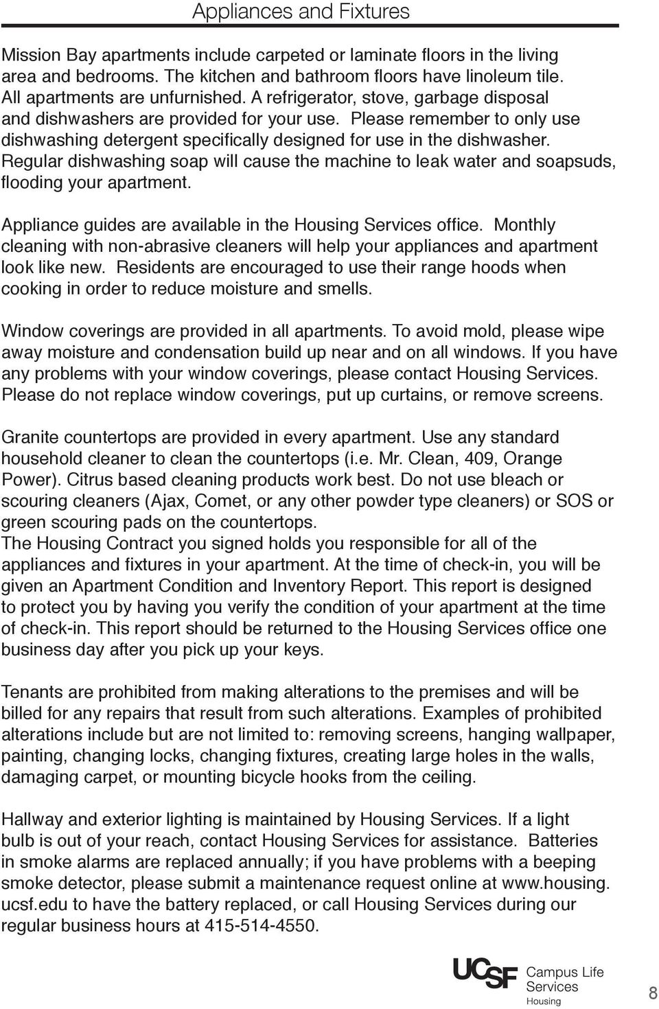Welcome to Mission Bay! Housing Services Tenant Handbook - PDF