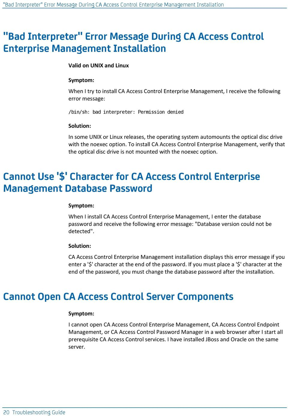 CA Access Control  Troubleshooting Guide PDF