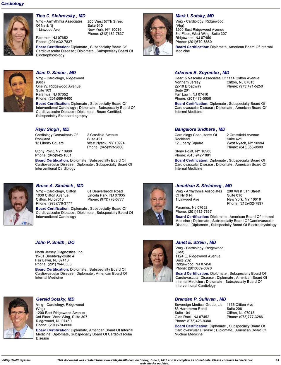 The Valley Hospital Medical Staff Directory - PDF