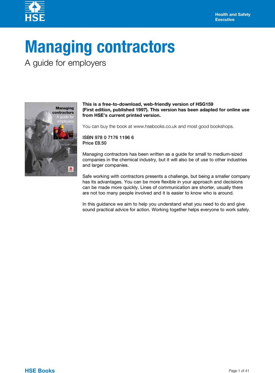 Managing contractors  A guide for employers  HSE Books - PDF