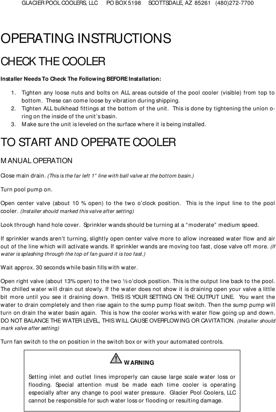 Glacier Pool Coolers Llc Operator Instructions Installation And