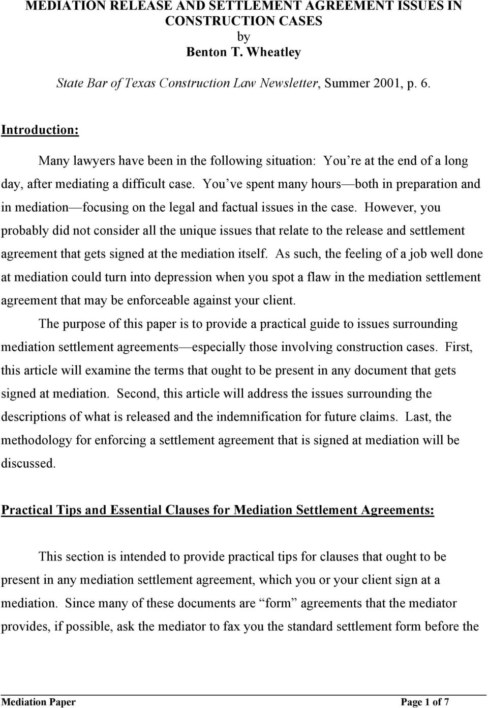 Mediation Release And Settlement Agreement Issues In
