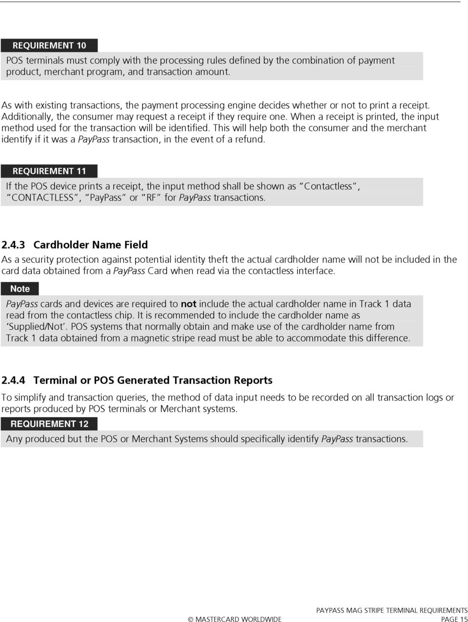 MasterCard  Terminal Implementation Requirements  PayPass - PDF