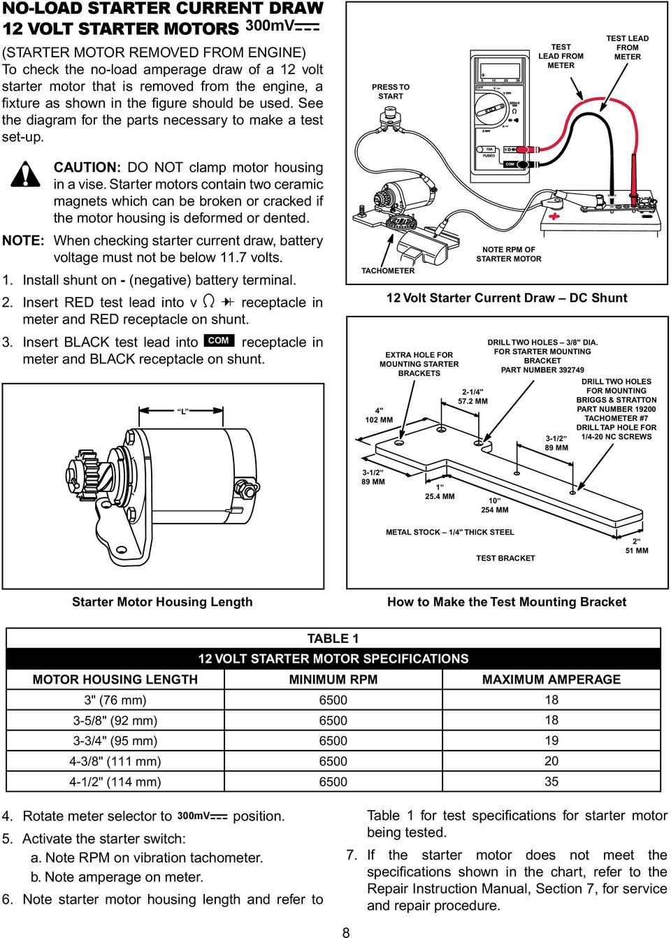 Engine Alternator Repower Guide Pdf 10 0 Briggs Stratton Motor Wiring Diagram Press To Start Test Lead From Meter Caution Do Not Clamp