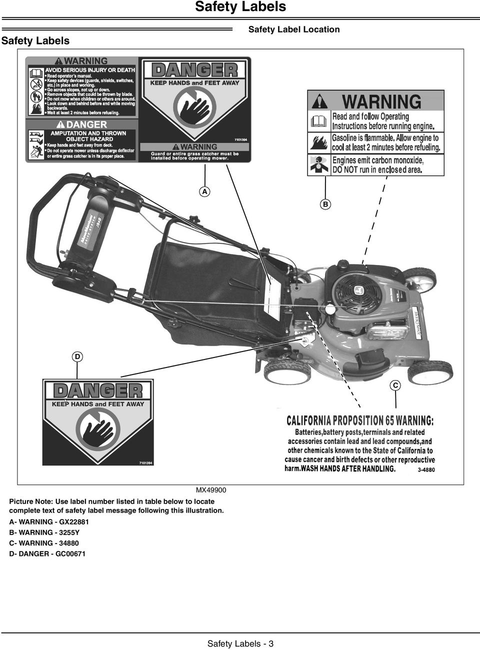 of safety label message following this illustration.