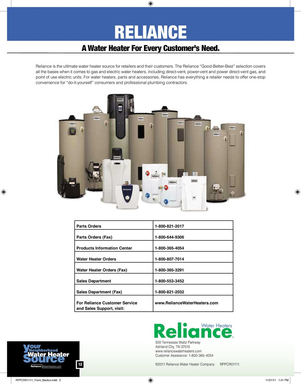 Parts Catalog Rppcr01111 Front Backcxindd 1 Backcx Reliance Water Heater Wiring Diagram For Heaters And Accessories Has Everything A Retailer Needs To Offer