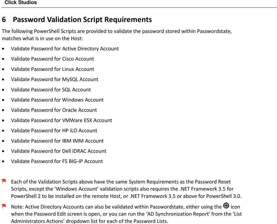 Account Validate Password for Oracle Account Validate Password for VMWare ESX Account Validate Password for HP ilo Account Validate Password for IBM IMM Account Validate Password for Dell idrac
