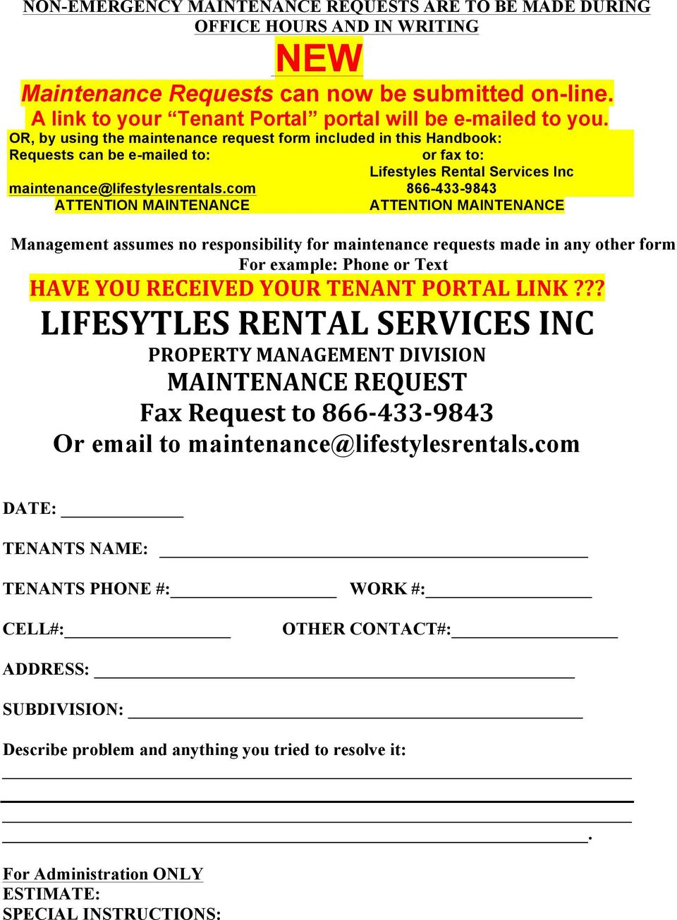 Tenant Information and Instructions Please read and retain for