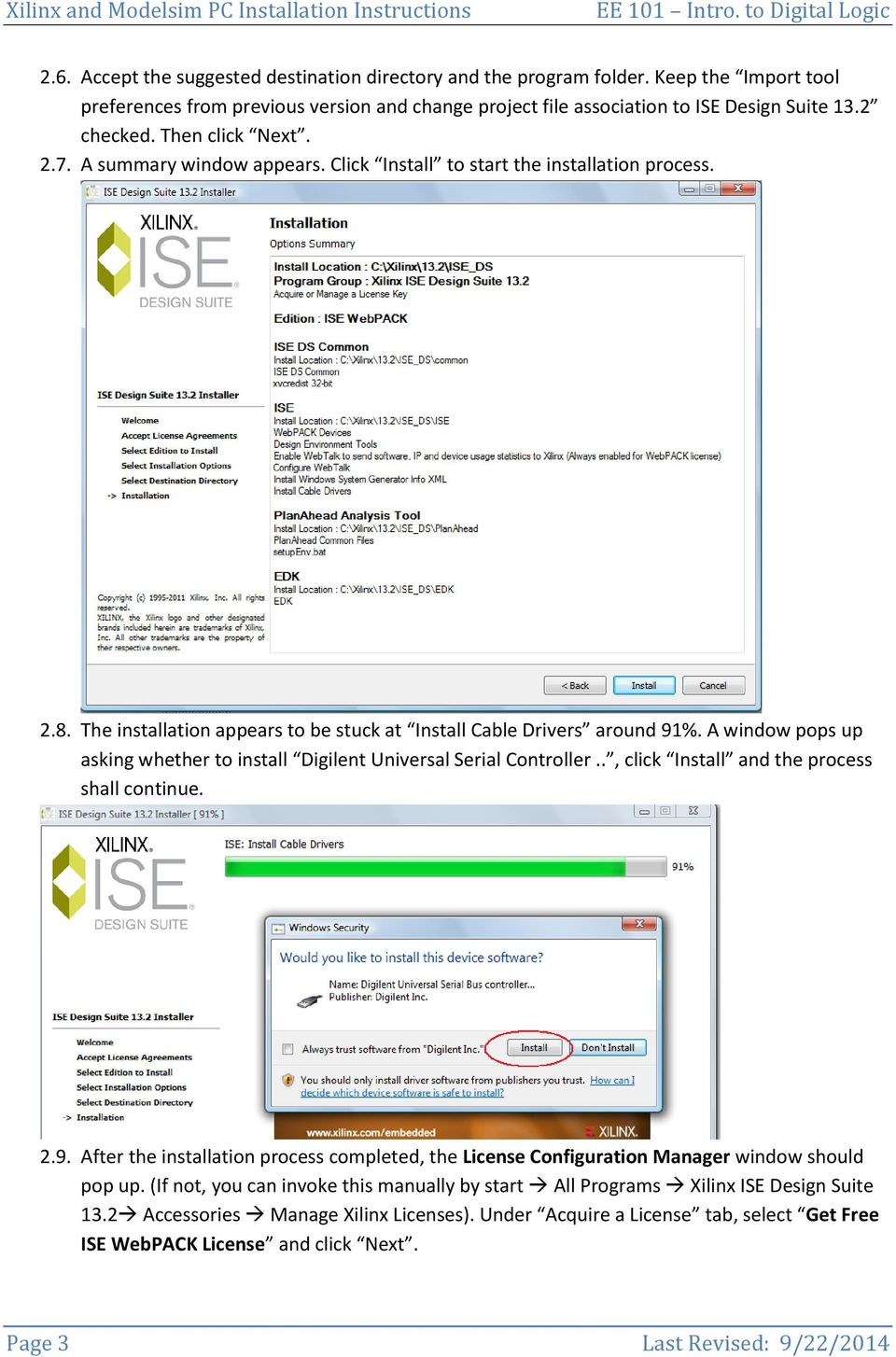 1  Downloading  2  Installation and License Acquiring  Xilinx ISE