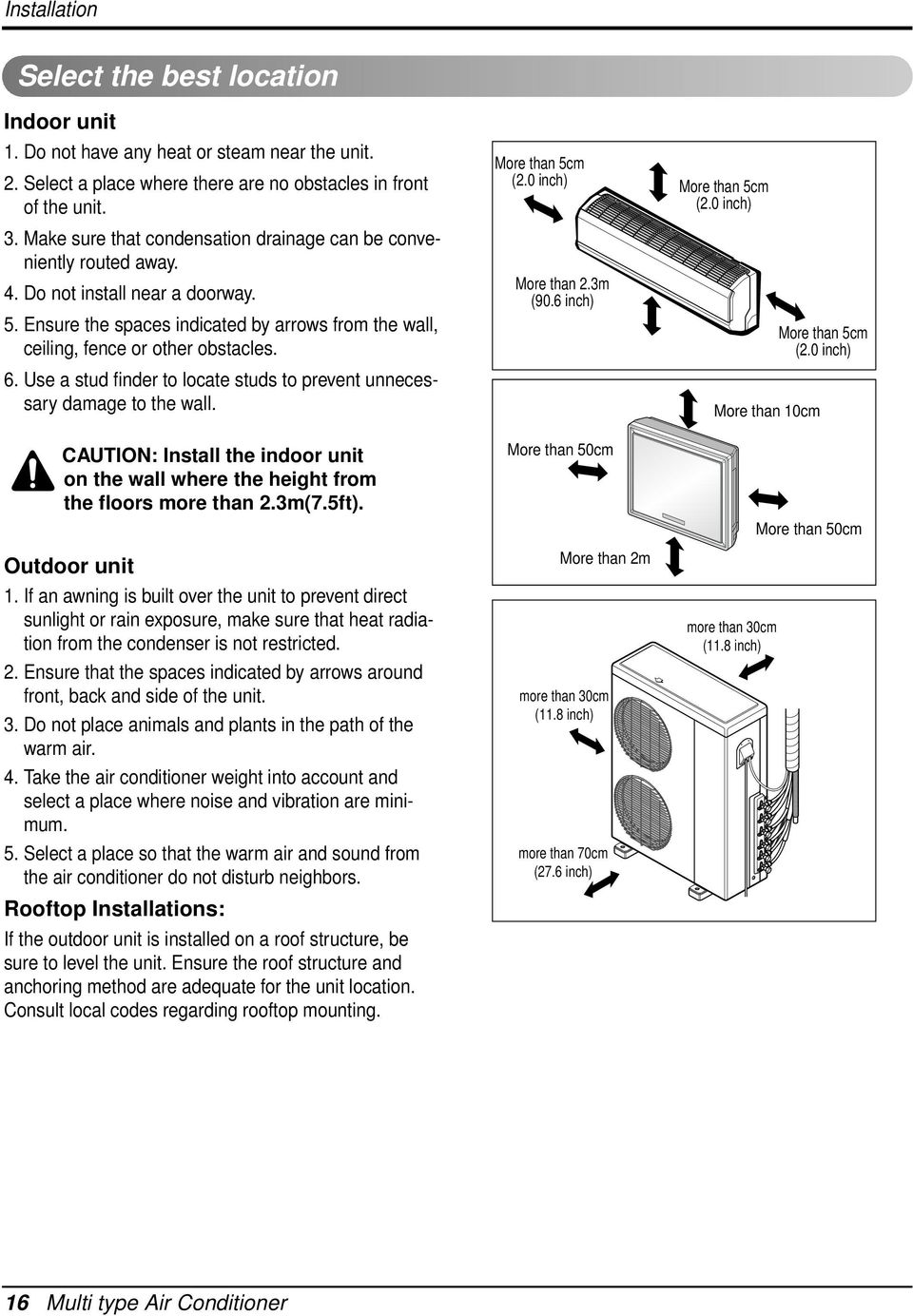 Lg Multi Type Air Conditioner Pdf Outside A C Condenser Unit Wiring Diagram Use Stud Finder To Locate Studs Prevent Unnecessary Damage The Wall Caution