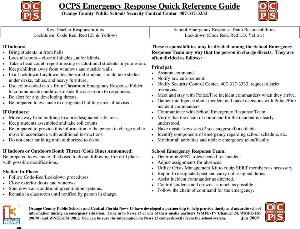 Ocps Emergency Response Quick Reference Guide Orange