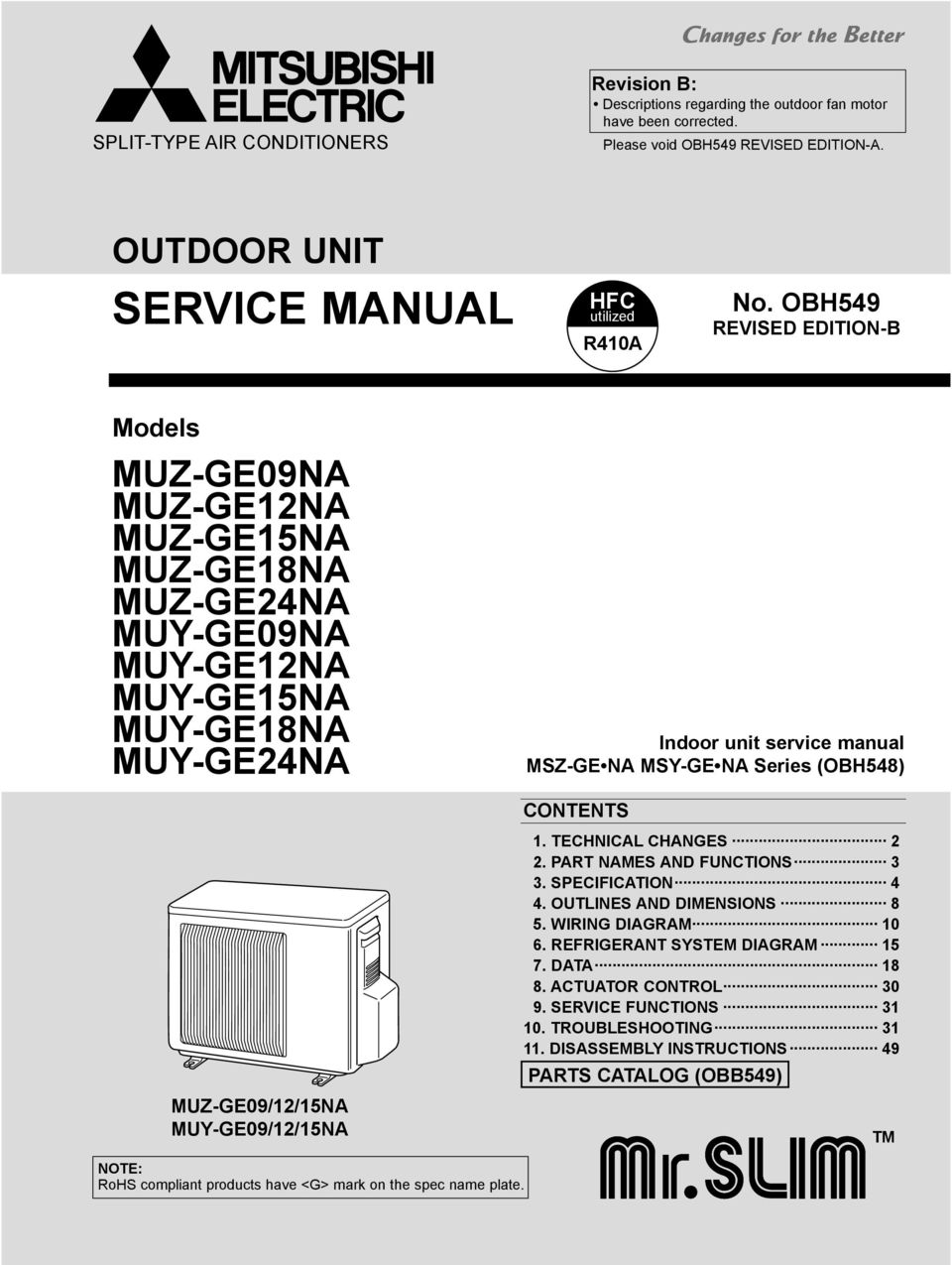 Mitsubishi R410a Wiring Diagram Excellent Electrical 4m40 Service Manual Muz Ge09na Ge12na Ge15na Ge18na Rh Docplayer Net Diagrams Tractor D2000ii Engine Timing