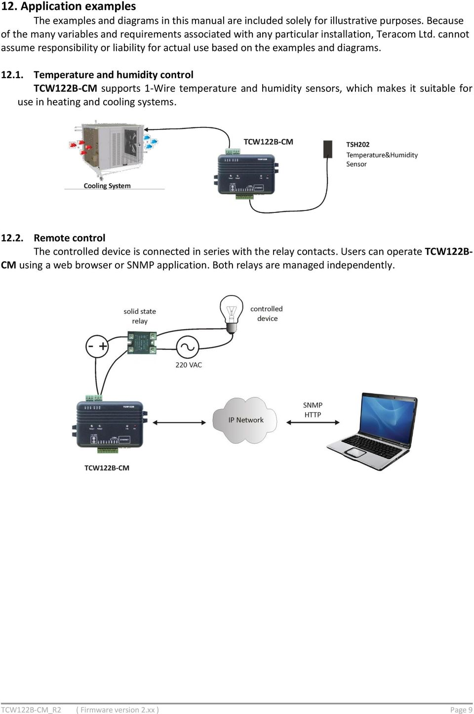 Ethernet Controller Tcw122b Cm Firmware Version 2xx User Manual Pdf Humidity Control Wiring Diagram Cannot Assume Responsibility Or Liability For Actual Use Based On The Examples And Diagrams 12