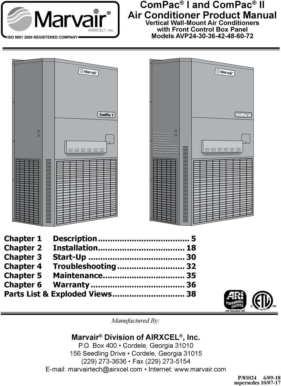 compac i and compac ii air conditioner product manual pdf rh docplayer net Marvair Distributors Marvair Distributors