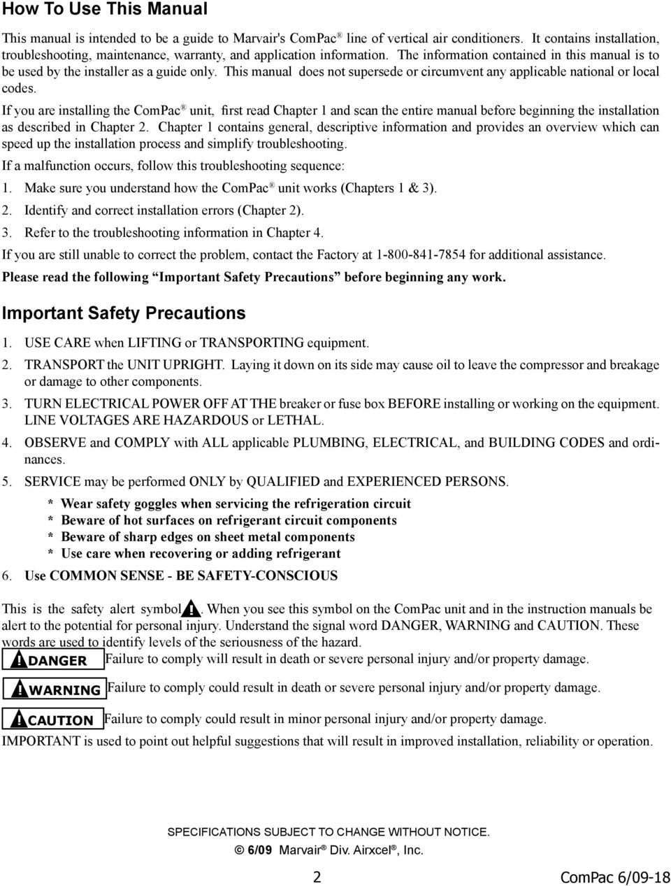 ComPac I and ComPac II Air Conditioner Product Manual - PDF